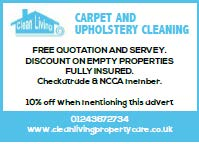 Clean Living, carpets and upholstery